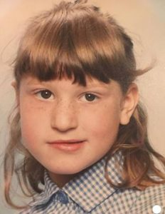 nicki at school - her right side affected by her facial palsy